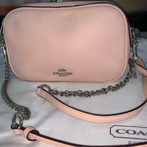 Coach pink Pebbled leather crossbody